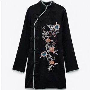 Zara kimono embroidered jacquard dress